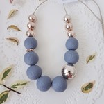 Chic Classic Necklace - Denim/Rose Gold