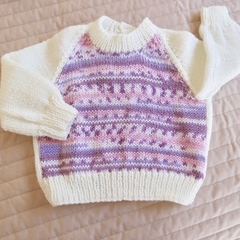 3-9mths - Hand knitted jump : Girl, machine washable, OOAK