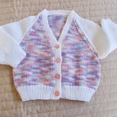 3-9mths - Hand knitted cardigan: Girl, machine washable, OOAK