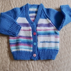 Size 6-12 mths hand knitted cardigan by CuddleCornerl