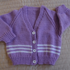 Size - 12 months: Girls hand knitted cardigan  by CuddleCorner. Machine washable