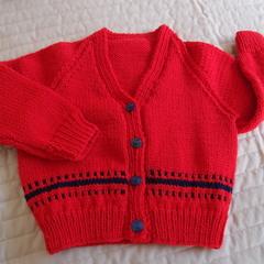SIZE 3 yrs (+): Hand knitted cardigan : acrylic, unisex