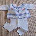 3-9mths - Hand knitted cardigan: Girl, machine washable, OOAK