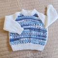 SIZE 0-6mths - Hand knitted jumper : washable, warm, boy