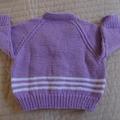 Size - 12 months: Girls hand knitted cardigan  by CuddleCorner. Machine washable