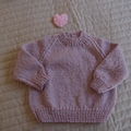 SIZE 0-6mths - Hand knitted jumper : washable, warm, girl