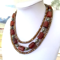 Bronze-Caramel AGATE Gemstones, Bronze Swarovski Crystals, 3 Strands Necklace.