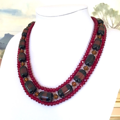 Genuine Dark Red AGATE Gemstones, Bronze Swarovski Crystals, 3 Strands Necklace.