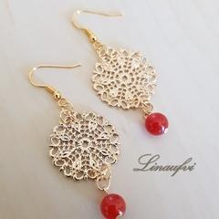 SALE 40% Earring - Gold - Red Agate - Gemstone - Round - Filigree - E063