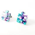 Puzzle studs - blue purple glitter studs - acrylic stud earrings - Autism - ASD