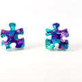 Puzzle studs - blue purple glitter studs - acrylic stud earrings - Autism - ASD