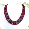 Genuine Dark Red AGATE Gemstones, Bronze Swarovski Crystals, 3 Strands Necklace.