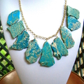 Genuine Blue Imperial JASPER Slices, Gold-Plated Fabulous Necklace.