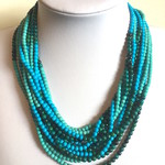 3 Tones of TURQUOISE Beads,  Magnet Connectors, Multi-Strand Fine Necklace.