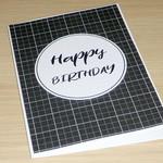 Happy Birthday card - grid print