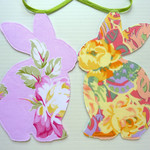 Bunny Garland, Baby Shower, double sided fabric, ready to ship