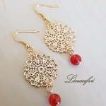 Earring - Gold - Red Agate - Gemstone - Round - Filigree - E063
