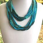 3 Tones of TURQUOISE (rec.),  Magnet Connectors, Multi-Strand Fine Necklace.