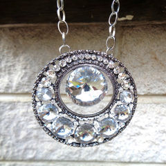Upcycled Crystal Rhinestone Necklace,  Wedding Necklace
