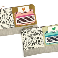 Typewriter & Type -  Large zip POUCH zippered Pencil Case .  Mother's Day Gift