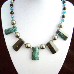 Green Cyan JASPER Gemstones, Sea Shell PEARLS and CRYSTALs Necklace.