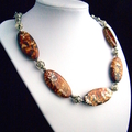 Genuine Tutankhamen AGATE, Necklace Finished with Magnet Connectors. Great Gift.
