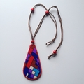 Vintage Fabric Pendant Hemp rope Necklace wood beads