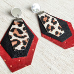 Red & Black Leather earrings with Leopard Print leather