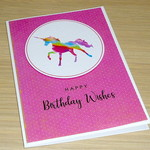 Girls Happy Birthday card - large rainbow unicorn