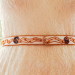 "Bead Embroidered OOAK Ladies Belt ""Mostly Orange"""
