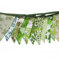 Vintage Bunting - Retro Eco Multi - Green Floral Flags. Party, Home Decoration