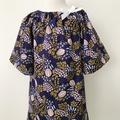 Size 3 - Smock Dress - Navy - Mustard - Peasant Dress - Organic
