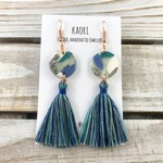 Handcrafted polymer clay statement tassel earrings with rose gold plated hooks
