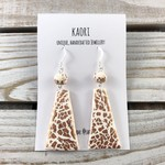 Handcrafted copper leaf and white polymer clay earrings sterling silver hooks