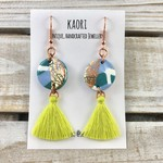 Handcrafted teal lime polymer clay tassel earrings with rose gold plated hooks