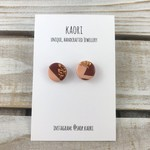 Handcrafted polymer clay stud earrings in burgundy, dusty pink and copper leaf