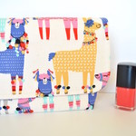 Llama pouch, alpaca cosmetic case, colourful padded make up bag, cute gift