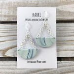 Handcrafted polymer clay earrings with sterling silver hooks- white blue waves