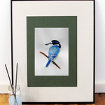 Forest Kingfisher bird print of watercolour painting A4