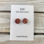 Handcrafted polymer clay stud earrings in burgundy and copper leaf
