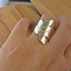CLIMBING LEAF STERLING SILVER RING, SIZE:S