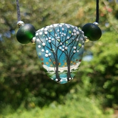 Tree of Life Lampwork Necklace Waxed Cord Sterling Silver Ends