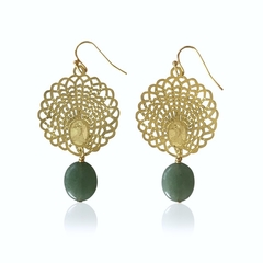 Gold Peacock Drop Earrings