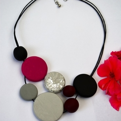 Polymer Clay Necklace, Large Handmade Round Beads in Pink, Black and Grey
