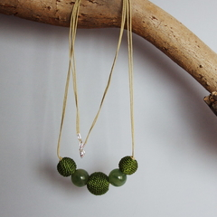 Recycled olive green beaded necklace