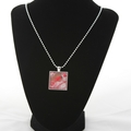 Fluid Art Pendant : Silver chain : One of a Kind red/gold  / square