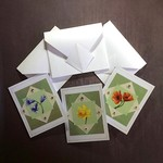 A Set of Three Small Flower on Green Blank Cards