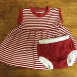 Red and White Striped Dress with Nappy Cover