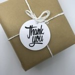 50 x Round White Thank you tags