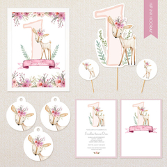 Personalised Floral Deer Party Pack - includes invitations, cake topper, poster,